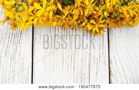 Saint-john's-wort On A Wooden Background