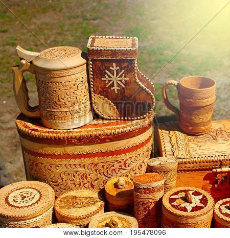 Handmade products made of birch bark. Ecological dishes made of wood Souvenirs.