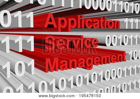 Application service management in the form of binary code, 3D illustration