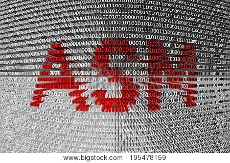 ASM into a binary code 3D illustration