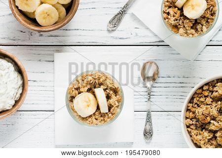 Chia Pudding Parfait With Yogurt, Banana, Granola. Top View