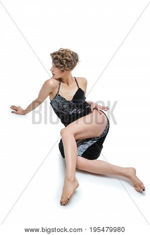 beautiful young woman dancer unblock tango dress isolated on white background. copy space.