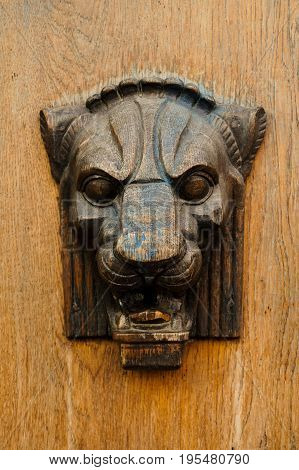 Wooden bas-relief of the lion's head on the door