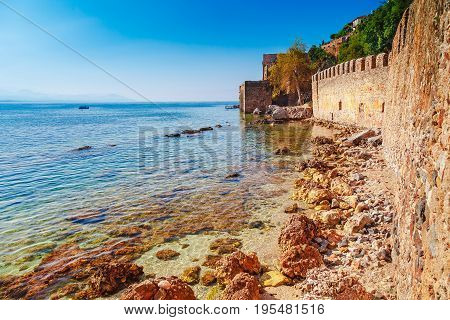 Beautiful Sea Panorama Landscape Of Alanya Castle In Antalya District, Turkey, Asia. Famous Tourist