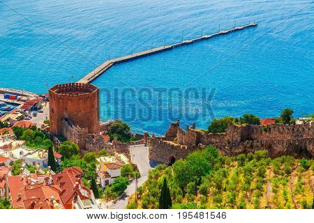 Landscape With Marina And Kizil Kule Tower In Alanya Peninsula, Antalya District, Turkey, Asia. Famo