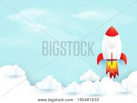 Space rocket launch over sky clouds. Start up concept. Paper art and craft style