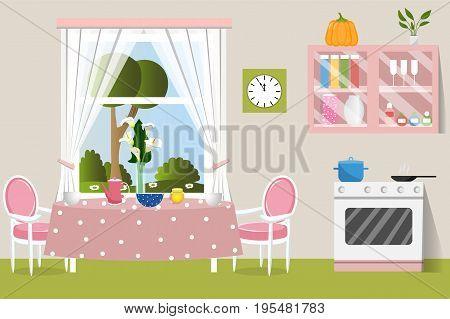The interior dining room. Flat design. Cartoon. Vector illustration.