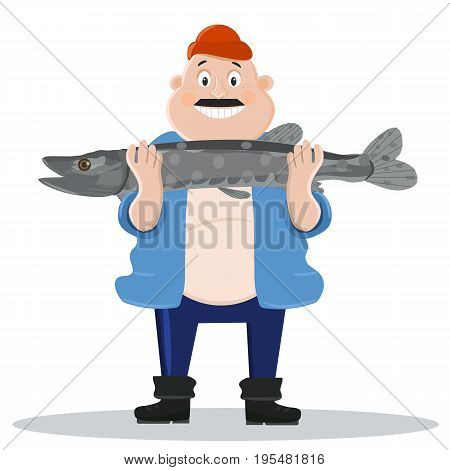 Happy fisherman with a big fish. Vector illustration. cartoon.