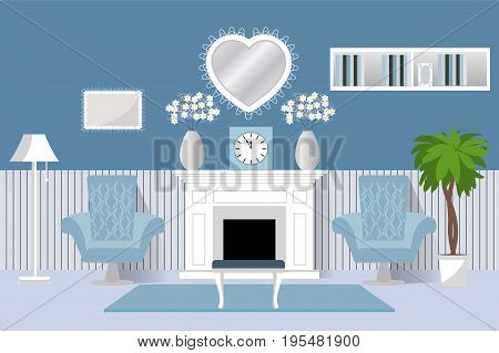 The interior of the room. Vector. Living room design living room. Cartoon background in flat design with fireplace and two armchairs.