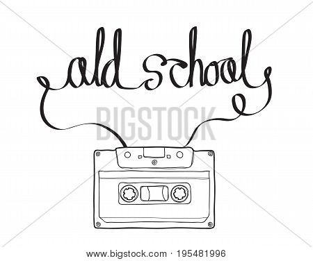Compact Cassette or Musicassette cassette tape audio cassette with analog magnetic tape in form and shape of old school Text hand drawn vector illustration line art