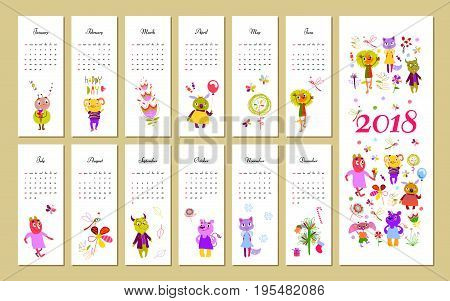 Monthly kids calendar 2018 with funny monsters. Concept, vector vertical editable template.