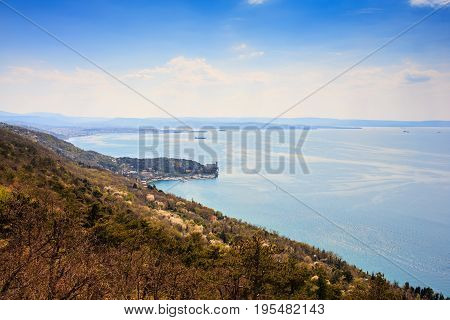 View of Trieste sea from Santa Croce Italy