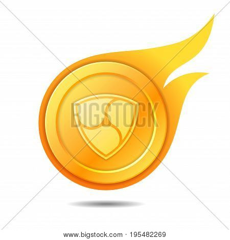 Flaming nem coin symbol icon sign emblem. Vector illustration.