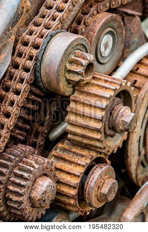 Old Worn Out Gear Wheel Under Corrosion