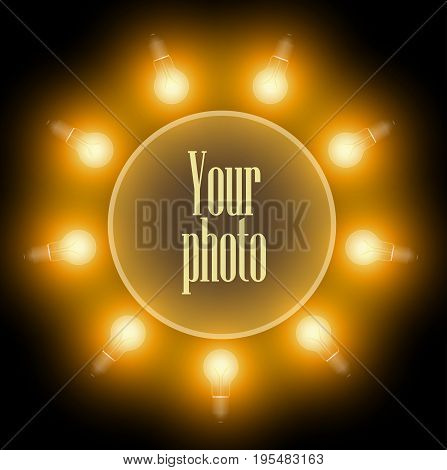 Frame Of Incandescent Lamps In The Form Of A Circle. A Make-up Mirror. Dark Background. Bright Light
