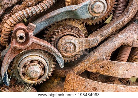 Old Rusty Industrial Machinery With Gear Wheels