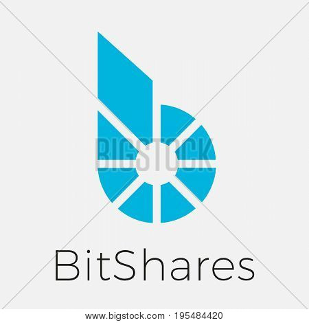 Bitshares (BTS) cripto currency blockchain flat logo. Block chain coin sticker for web or print.