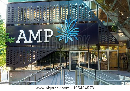 Melbourne Australia - January 6 2017: AMP is an Australian financial services company. This is its office at 750 Collins Street Melbourne.