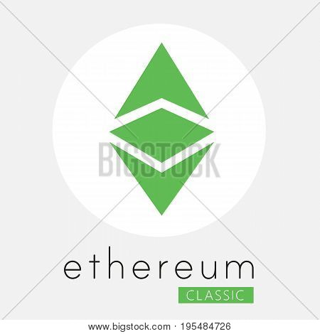 Ethereum classic (ETC) cripto currency chrystal art icon for apps and websites. Ethereum classic vector logo for print of web.
