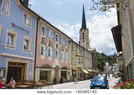 Historic Street In Garmisch, Germany, Editorial