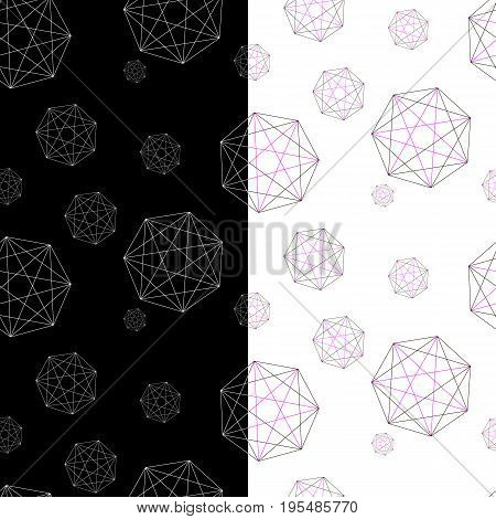 Set of two geometric patterns under the forwarding mask. Abstract pattern for your design. Stock vector.