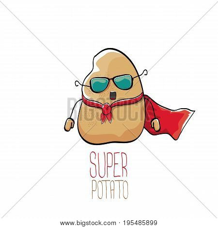 vector funny cartoon cute brown super hero potato with red hero cape isolated on white background. My name is potato vector concept. super vegetable funky character