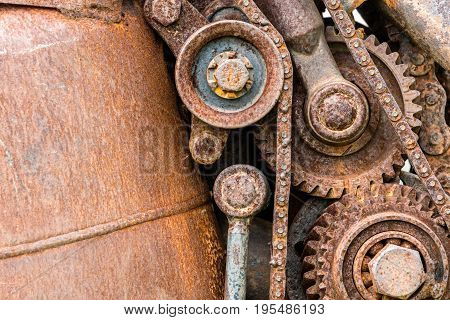 Grunge Corroded Metal Components Of Industrial Machine