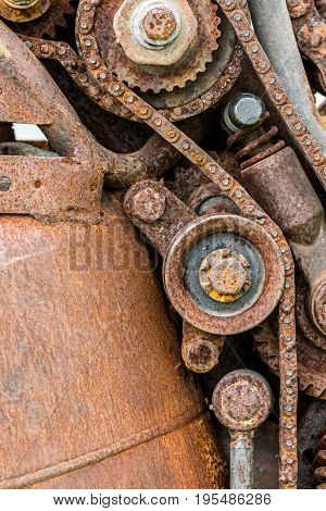 Old Worn Out Rusty Gear Wheels And Sprocket