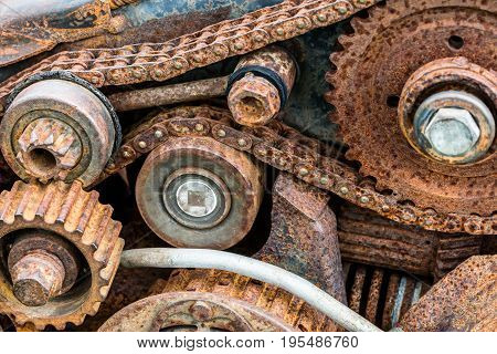 Corroded Old Gear Wheels Of Broken Industrial Machine