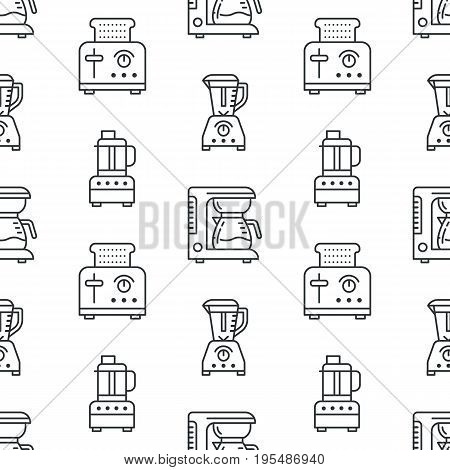 Kitchen utensil, small appliances seamless pattern flat line icons black white. Background household cooking tools - blender, mixer, food processor, coffee machine, microwave, toaster. Electronics.