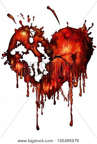 Illustration bloody red heart heart with smudges