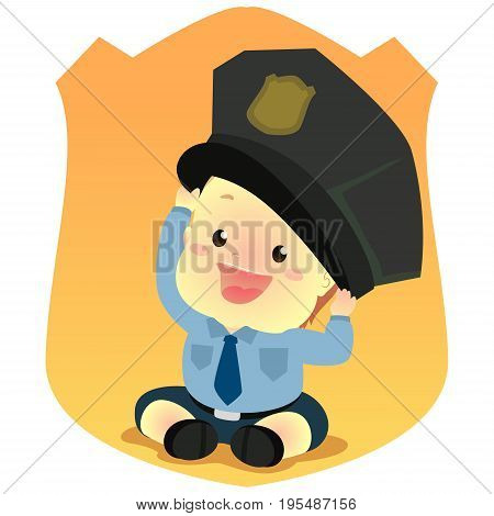 Vector Illustration of Baby wearing a Police Uniform