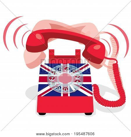 Ringing red stationary phone with flag of UK. Vector illustration.