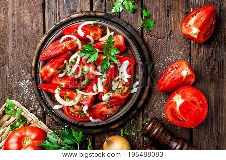 Tomato salad with fresh tomatoes and onion