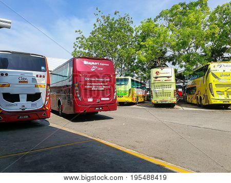Melaka Malaysia - April 20 2017: Buses parking at Melaka Sentral which is the largest public transportation terminal in Melaka city traveling to various cities in Malaysia and Singapore.