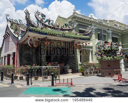Penang Malaysia - April 24 2017: Yap Kongsi temple the Chinese temple in UNESCO World Heritage Site in Georgetown, Penang, Malaysia.