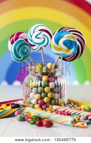 Lollipops and sweet candies of various colors