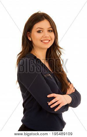 Attractive Young Woman In Blue Shirt Isoalted Over White