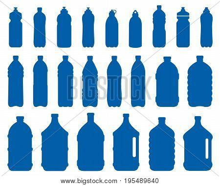 set of plastic water bottle icons on white background