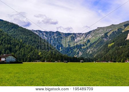 View at Innsbrucks foothills mountain scenery, Austria