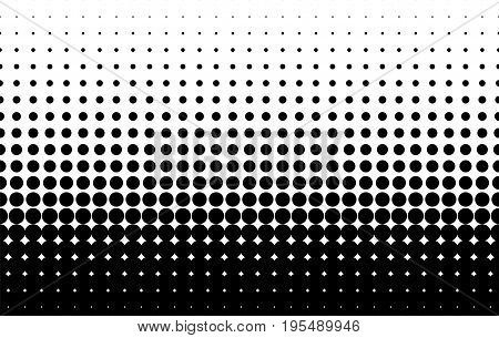 Halftone pattern. Comic background. Dotted retro backdrop with circles, dots. Design element for web banners, posters, cards, wallpapers, sites. Pop art style. Vector illustration. Black and white