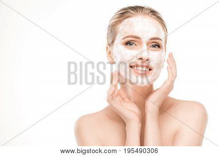 Mature female beauty health care studiio portrait facial mask