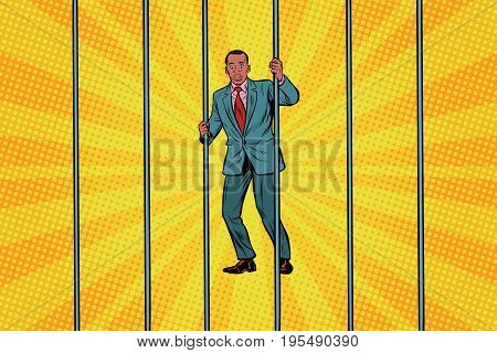 African Businessman in jail behind bars. Pop art retro vector illustration