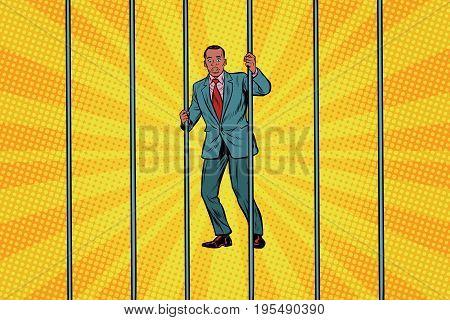 African Businessman in jail behind bars. Pop art retro vector illustration