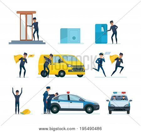Set of offenders, thief penetrating a bank stealing money from a safe and a terminal, thief hacking a car, arrest of criminal in handcuffs, imprisonment. Vector illustration isolated in cartoon style.