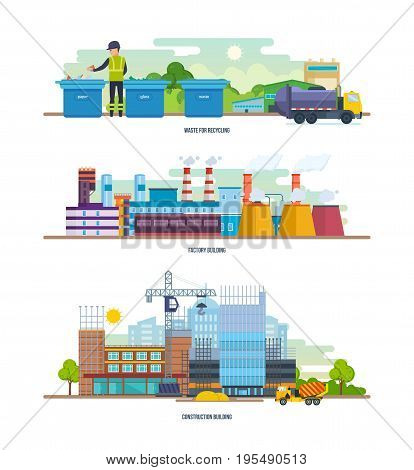 Waste for recycling, factory, construction building. Architectural building work process houses with crane. Cleaning city. Household waste, recycling of industrial waste. Vector illustration isolated.