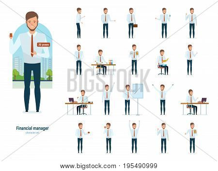 Concept of banking services, financial management, attainment of goal, research. Financial manager in strict work clothes, in various poses and situations. Vector illustration in cartoon style.