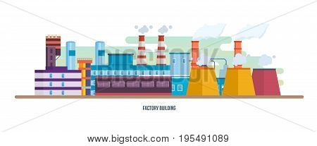 Buildings of an industrial plant, stations and reactors, power lines and resource work, laboratory. Industrial factory building. Landscape of the surrounding city. Vector illustration isolated.