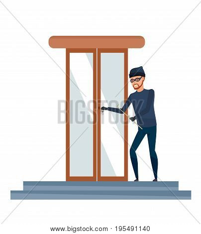 Thief, a burglar, a robber in a mask and dark clothes, commits a crime. Hacking of the door locks of the bank building. Vector illustration isolated on white background in cartoon style.