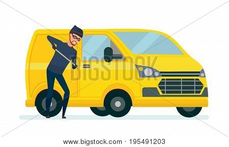 Thief produces hacking, theft car with the help of improvised means. Thief breaks the law. Violate of the law. Vector illustration isolated in cartoon style.